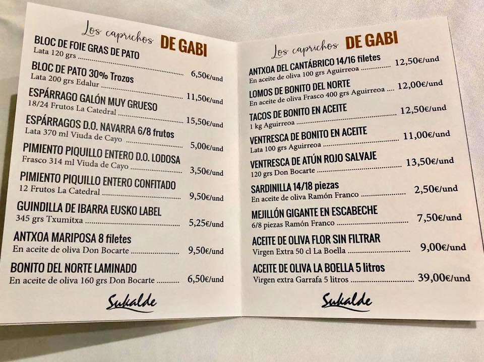 carta caprichos gabi sukalde bilbao dilacatessen