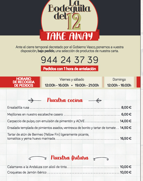 La bodeguita del 12 take away Bilbao